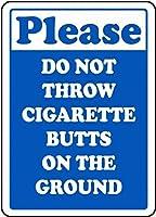 タバコを投げないでくださいティンサイン壁鉄の絵レトロプラークヴィンテージ金属シート装飾ポスターおかしいポスター吊り工芸品バーガレージカフェホーム