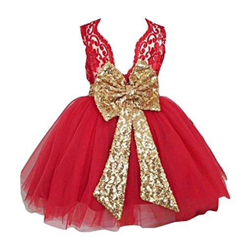 Baby Mädchen Prinzessin Kleid Blumenmädchenkleid Taufkleid Festlich Kleid Hochzeit Partykleid Festzug Babybekleidung für 90/1-2Jahre Rot