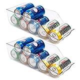 BUZIFU 2 uds Organizador Nevera, Organizador de Latas de 33 cl, Dispensador de Latas para Frigorifico Armario Despensa Encimeras, Caja de Plástico para 9 Latas de Refresco o Cerveza, Transparente