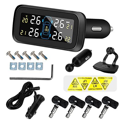 dheik Sistema de monitoreo de presión de neumáticos, Digital inalámbrico LCD Mostrar Sistema de monitoreo de presión de neumáticos Sistemas de Alarma automática Tipo de Encendedor de Cigarrillos TPMS