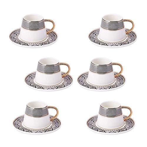 Karaca Globe Türkische Kaffeetassen Set Fur 6 Personen, 12 TLG.,6x Espressotasse und 6x Untertasse, Mokkatassen/ Espressotassen Set aus Porzellan, Kaffeetassen mit Untertasse