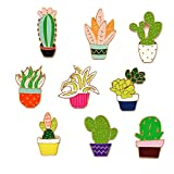 SloveM Cactus Plant Brooch Cartoon Cute Girly Enamel Lapel Pins Birthday Gift Collectible Backpack School Bag Decoration Jewelry DIY Accessories Holiday Gift (Plant Cactus Brooches 9 Pcs)