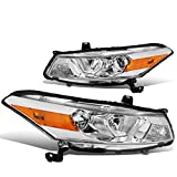 Pair Chrome Housing Amber Corner Projector Headlight Headlamps for 08-12 Honda Accord 2-DR Coupe