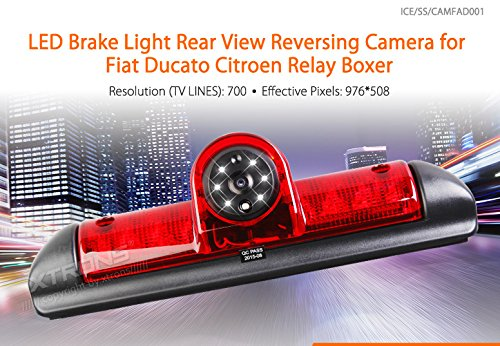 XTRONS Auto Rückfahrkamera Rear View Backup Einparkhilfe IP68 170° Weitwinkel wasserdicht mit LED für FIAT Ducato/Citroen Relay Boxer