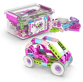 Engino Toys Creative Engineering STEM Maker Girl 20-Model Set Think and Build in 3D Space Activities and Experiments Supercharged Speedsters Helicopter Snowmobile Home Learning for Ages 7+