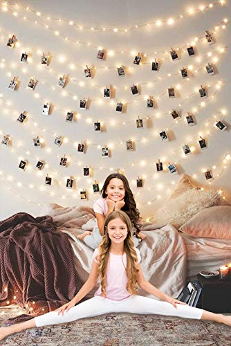 LED Photo Clip String Lights Home Decor Indoor/Outdoor, Battery Powered String...