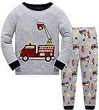 Schlafanzug Jungen Langarm Zweiteiliger Baumwolle Kinder Nachtwäsche Dinosaurier Bagger Feuerwehrauto Zug 92 98 104 110 116 122, Feuerwehrauto, 116 (HerstellerGröße: 130)