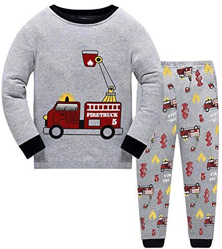 Schlafanzug Jungen Langarm Zweiteiliger Baumwolle Kinder Nachtwäsche Dinosaurier Bagger Feuerwehrauto Zug 92 98 104 110 116 122, Feuerwehrauto, 104 (HerstellerGröße: 110)