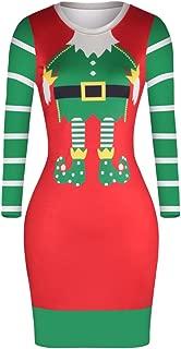 Pink Queen Women's Christmas Santa Claus Digital Print Fit Midi Dress