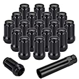 "PUENGSI 12mmx1.25 Wheel Lug Nuts, 20Pcs+1 Key M12x1.25 Thread 1.36""Tall Black Spline Forged Steel Lug Nuts, Conical/Cone Seat, Compatible for Infiniti Nissan Subaru Scion"