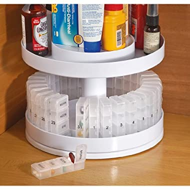 Jobar International - Pill Organizer, 31 pill holders, Rotates 360 degrees