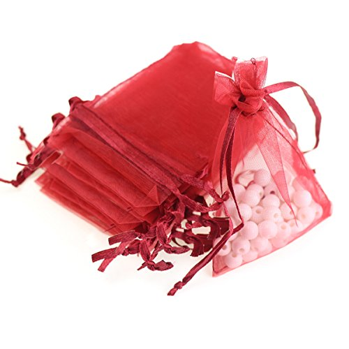"AKStore 100Pcs 2.8""x3.6""(7x9cm)Sheer Drawstring Organza Jewelry Pouches Wedding Party Christmas Favor Gift Bags (Red)"
