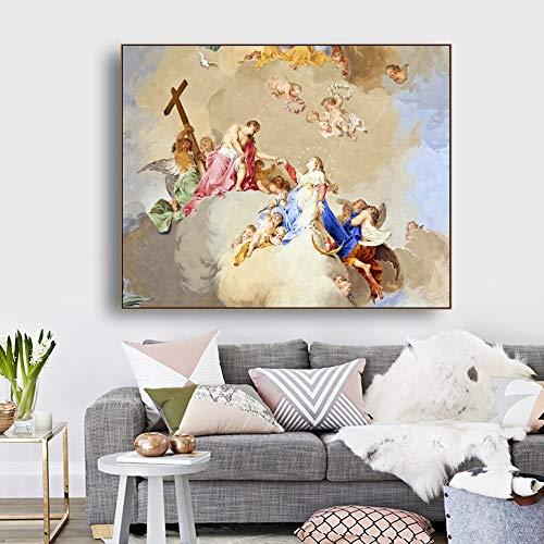 ganlanshu Lienzo Pintura al óleo Biblia Mito Fresco Arte Imagen póster decoración de la Pared Moderna Familia Sala de Estar decoración,Pintura sin Marco,70x90cm