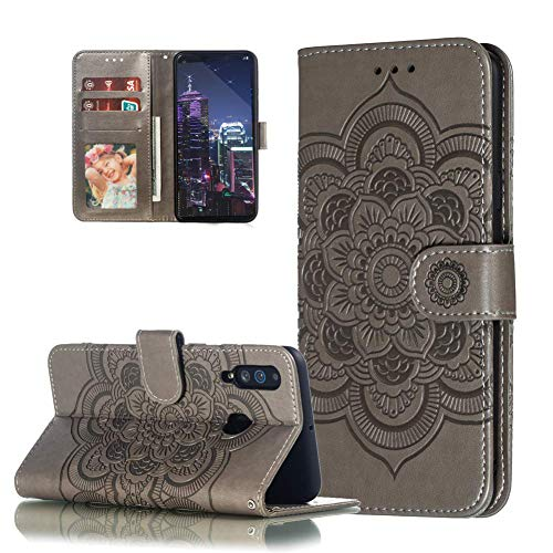 Motorola Moto G8 Power Lite Hülle,Moto G8 Power Lite Handyhülle Prägung Mandala-Blume Flip Case PU Leder Magnet Schutzhülle Tasche Ständer Handytasche für Motorola Moto G8 Power Lite,LD Mandala Gray