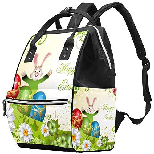 Conejito de Pascua Flores Huevos Bolsa de pañales Mochilas para portátil Mochila para portátil Viaje Senderismo Mochila para Mujeres Hombres