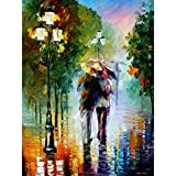 empty Adults and Children Digital Painting DIY Oil Painting Gift Set Pre-Printed Canvas Artist Home Decoration-Romantic In The Rain 16 * 20 Inches,134,with Inner Frame