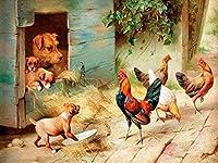 NC56 A ホームオフィスの装飾のためのDIYデジタル絵画油絵DIYデジタル工芸品子供大人の油絵キャンバスキット子犬と鶏肉40x50cm