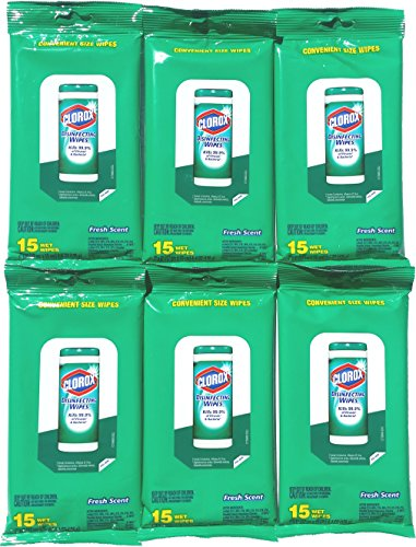 Clorox Cleaning Wipes - 90 Count - Resealable Package - Fresh Scent (6 Packs)