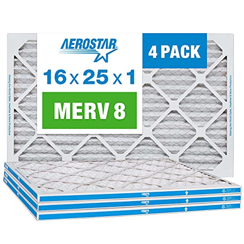 Aerostar 16x25x1 MERV 8 Pleated Air Filter, AC...