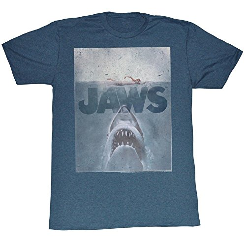 Jaws - Mens Transparent T-Shirt, Medium, Navy Blue Heather - S to XXL