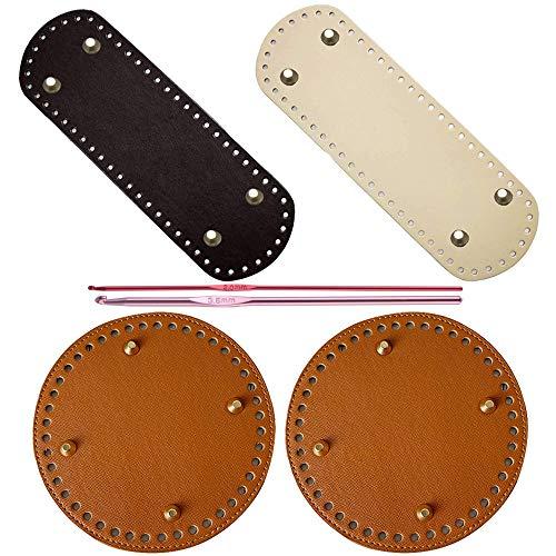 Nsiwem Taschenboden Zum Häkeln Leder 4 Stück Taschenboden Kunstleder Einlegeboden Boden Tasche Taschenboden Rund und Quadrat 15x15cm, 10x22cm mit Häkeln 2.0mm, 3.0mm für Taschenherstellung
