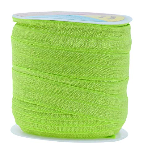 Fold Over Elastic Band 5/8 Inch Foldover FOE Stretch Ribbon for Hair Tie Headband Baby Girl Hair Bow by Mandala Crafts Lime Green 1.5CM 5/8 Inch 20 Yards Roll