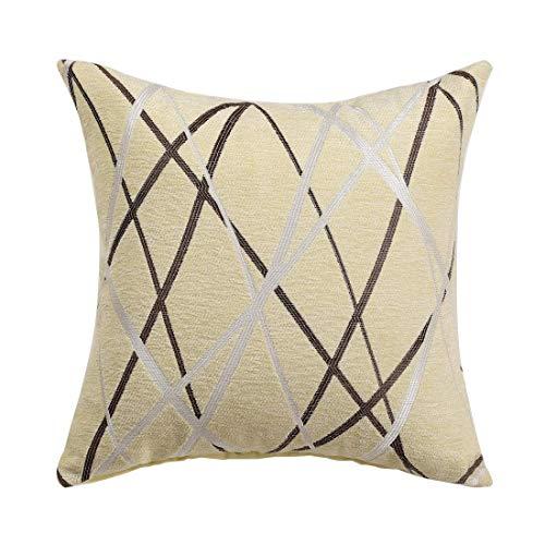 YeVhear - Funda de almohada decorativa de tejido de chenilla con textura moderna, concisos y suaves, color beige