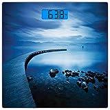 Escala digital de peso corporal de precisión Square Marina Báscula de baño de vidrio templado ultra delgado Mediciones de peso precisas,Seaside Rocks Curvy Jetty at Dawn Dreamy Panoramic Majestic Aqua