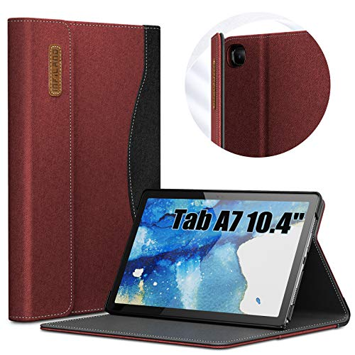 INFILAND Hülle für Samsung Galaxy Tab A7 10.4 2020, Business Folio Schutzhülle für Samsung Galaxy Tab A7 10.4 Zoll 2020(T500/T505/T507), Auto Schlaf/Wach,Rotwein
