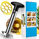 Pineapple Corer and Slicer, [Upgraded] 304 Stainless Steel Professional Pineapple Cutter/Peeler with Wedger, Easy Pineapple Core Remover Tool for Home & Kitchen with Sharp Blade for Diced Fruit Rings