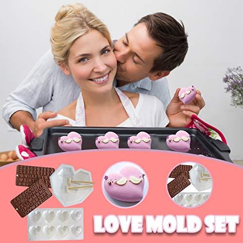 NRRN Molde de silicona con forma de corazón en 3D, molde de chocolate, molde para hornear para el día de San Valentín
