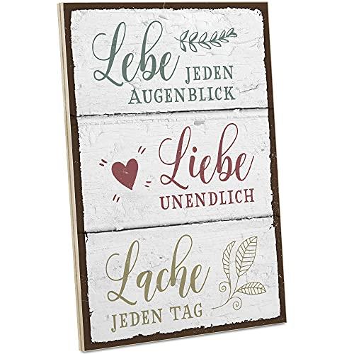 ARTFAVES® Holzschild mit Spruch - Lebe Liebe Lache/Vintage Deko Shabby Chic/Holzbild als Geschenk für Frauen & Männer