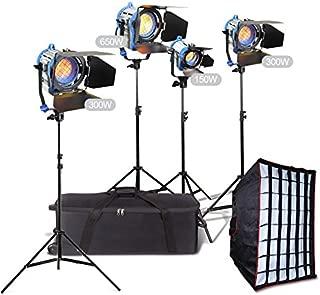 Alumotech 150Watt+2X300Watt+650Watt+Stands +Softbox 1400Watt Fresnel Tungsten Spotlight Halogen Lamp Studio Video Light Kit Air Cushioned Stands For Camera Lighting Compatible Bulb
