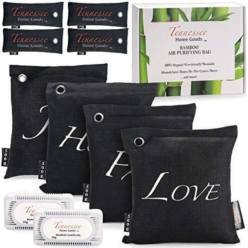 TENNESSEE HOME GOODS - Bamboo Charcoal Air Purifying Bags - 10-Pack Natural Organic Freshener,...