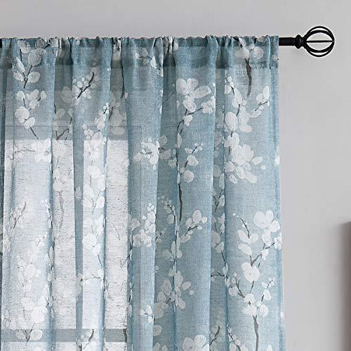 "FMFUNCTEX Blue Sheer Curtains for Living-Room White Blossom Print on Flax Linen Blend Window Drapes 50"" W x 63"" 2 Panels, Rod Pocket"