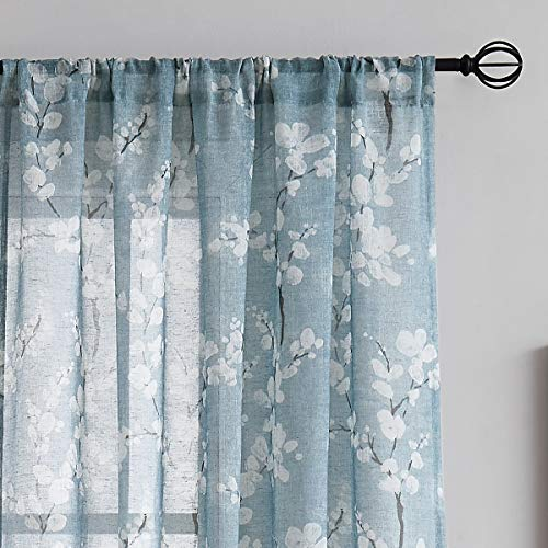 FMFUNCTEX Blue-White Sheer Curtains for Living-Room 84' Long Blossom Print on Flax Linen Blend Window Curtain Panels 2 Pack Rod Pocket, 50' w