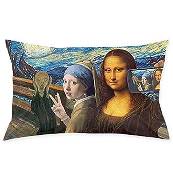 FEAIYEA Mona Lisa Self Timer Throw Cushion Cover Throw Pillow Cover Rectangular New Living Series Decorative Throw Pillow Case Double Side Design 29.9  X 19.6  Family Indoor Sofa Car
