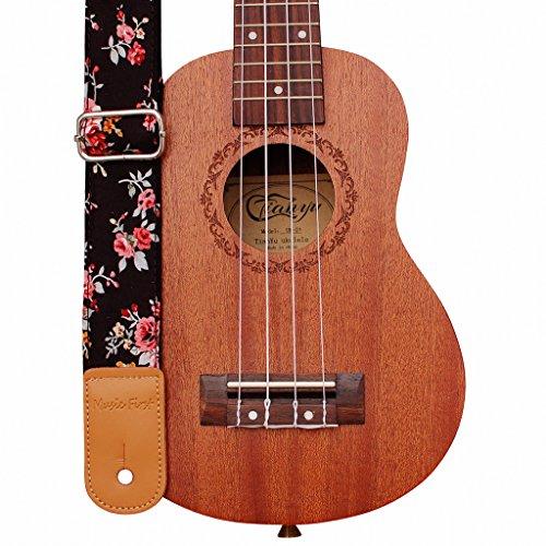 Music First - Correa para ukelele de piel auténtica con diseño original
