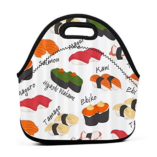 ADONINELP Lunch Bag Portable Tote Bento Pouch,Motifs de Sushi Japonais,Néoprène avec Fermeture à Glissière Pour École Travail Bureau Voyage Sac À Main