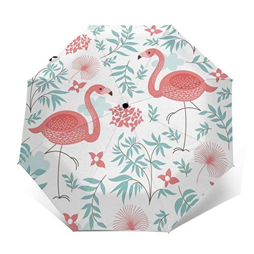 Pinker Flamingo-Regenschirm, winddicht, Reise-Regenschirm, automatisches Öffnen/Schließen, kompakter faltbarer Regenschirm Außenprint Einheitsgröße