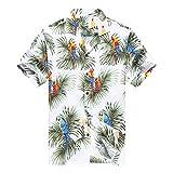 Hecho en Hawaii Camisa Hawaiana de los Hombres Camisa Hawaiana 4XL Loros y Hoja en Blanco