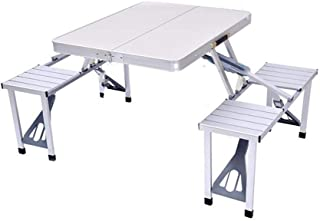ZRL77y Height Adjustable Folding Table and 4 Chairs, Lightweight Portable Aluminum Folding Table and Stool Set,Lightweight...