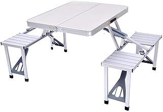 AINIYF Height Adjustable Folding Table and 4 Chairs, Lightweight Portable Aluminum Folding Table and Stool Set,Lightweight...