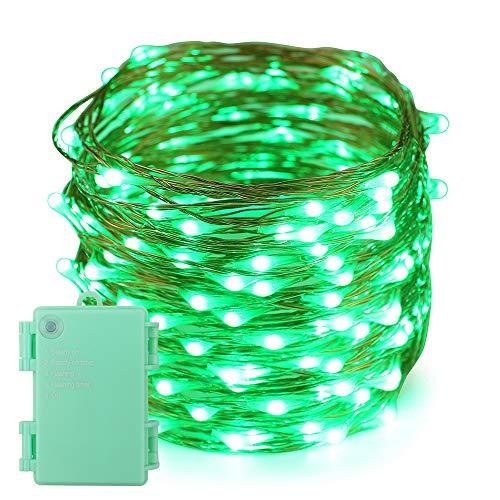 Erchen Batteriebetrieben LED Lichterkette, 66 FT 200 LED 20M Kupfer-Draht Lichterketten mit Timer für Innen Außen Weihnachten Party Garten terrasse (Grün)