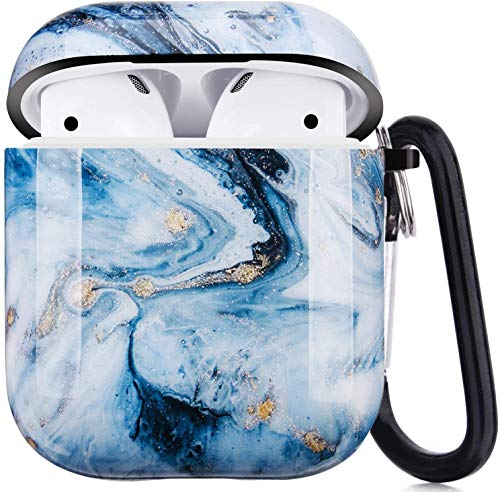 Cujas Schutzhülle kompatibel mit Apple AirPods 1 & 2 – Unterstützt kabelloses Laden – Mit praktischem Karabiner, Glänzende Oberfläche, Stoßfestes Case, Perfekte Passform – Eisblauer Marmor