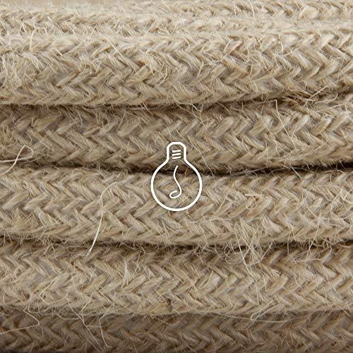 Amarcords - Câble électrique textile couleur JUTE, rond, jute, 10 mètres, avec mise à la terre 3x0,75 - Fil vintage en tissu coloré, pour lampes, lustres, appliques et abat-jours.