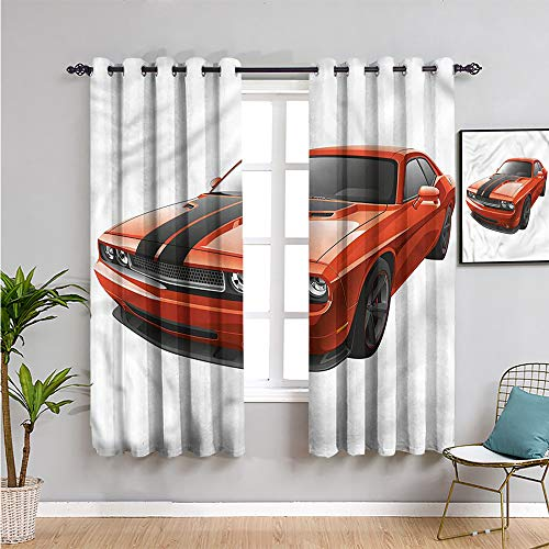 Pcglvie Cortinas aisladas para habitación de niños, 182,88 cm de largo, moderno coche musculoso, exótico, para sala de estar o dormitorio, 182,88 cm de ancho x 182,88 cm de largo