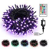 Brizled Color Changing Christmas Lights, 66ft 200 LED Purple Lights Halloween, Dual Color Modes Plugin Christmas Tree Lights with Remote, Dimmable Waterproof Lights for Room Indoor Outdoor Xmas Decor