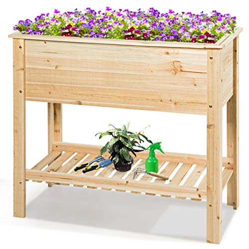 Giantex Raised Garden Bed Wooden Planter Box Outdoor Elevated Garden Planter with Shelf, Free Standing Gardening Box for Vegetable and Flowers (36''Lx 16''Wx 32''H)