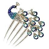 Wedding Bridal Headpiece Rhinestone Hair Comb Women Peacock Hair Clip Side Comb Hair Accessory(Blue)
